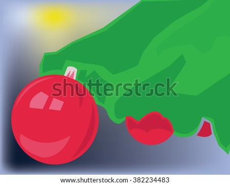 Merry Christmas Greeting Card. Christmas Tree with Decorations, Chistmas Balls, Xmas Lights. Digital background vector illustration. - stock vector