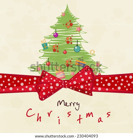 Merry Christmas greeting card decorated with beautiful X-mas tree and red ribbon on beige background. - stock vector