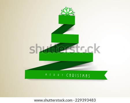 Merry Christmas greeting card decorated with stylish paper X-mas tree and snowflake on grey background. - stock vector