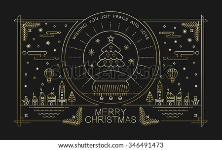 Merry Christmas greeting card design in gold outline style with city holiday elements and text. Ideal for Xmas poster, campaign or web. EPS10 vector. - stock vector