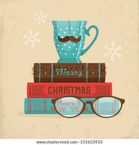 Merry Christmas greeting card design in hipster style. Cup of tea with mustache on stack of books. Vector illustration - stock vector