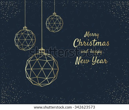 Merry Christmas greeting card design with stylized christmas ball. Vector illustration - stock vector