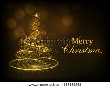 Merry Christmas greeting card, gift card, invitation card or background with shiny sparkle Xmas tree. EPS 10. - stock vector