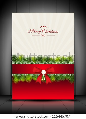 Merry Christmas greeting card, gift card or invitation card decorated with red ribbon, snowflakes and green grass. EPS 10. - stock vector