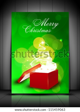 Merry Christmas greeting card or gift card with sparkling Xmas tree coming out from red gift box. EPS 10. - stock vector