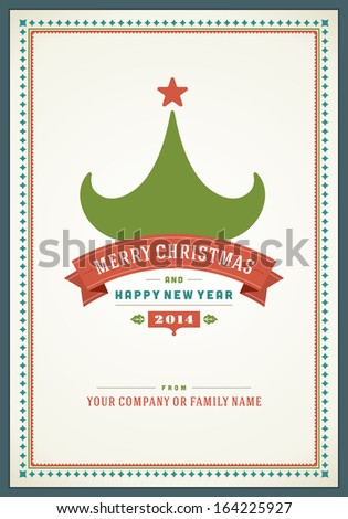 Merry Christmas greeting card ornament decoration background. Vector illustration Eps 10. Happy new year message, Happy holidays wish.  - stock vector