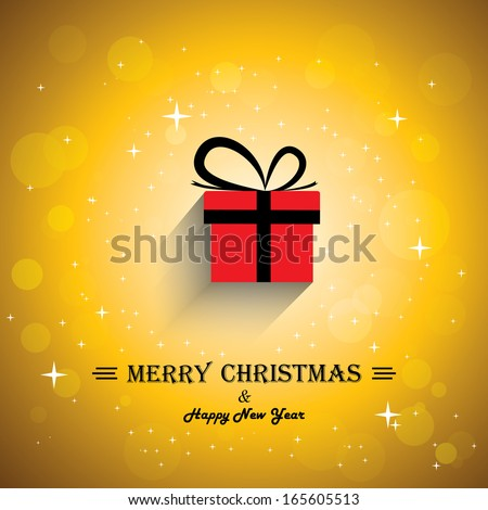 Merry christmas greeting card poster with gift icon - concept vector. This abstract graphic contains colorful gift boxes with xmas lights bokeh & stars in the background & happy new year greetings - stock vector