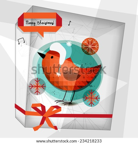 Merry christmas greeting card, robin bird. Vector card, seasonal winter illustration. - stock vector