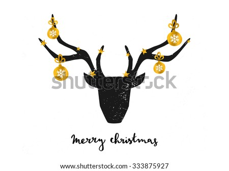 "Merry Christmas greeting card template. A black deer head decorated with gold Christmas baubles on white background. Hand lettered ""Merry Christmas"" text. - stock vector"
