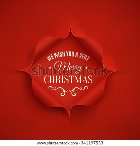 Merry Christmas greeting card template. Vector illustration. - stock vector