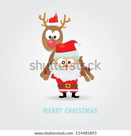 merry christmas greeting card. vector abstract xmas background. vector santa holding deer rudolf. - stock vector
