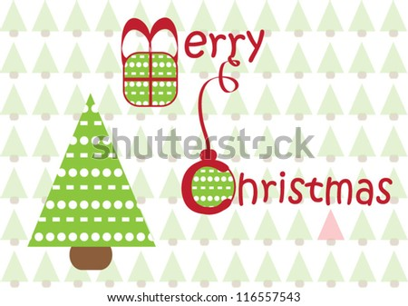 Merry Christmas greeting card, vector illustration - stock vector