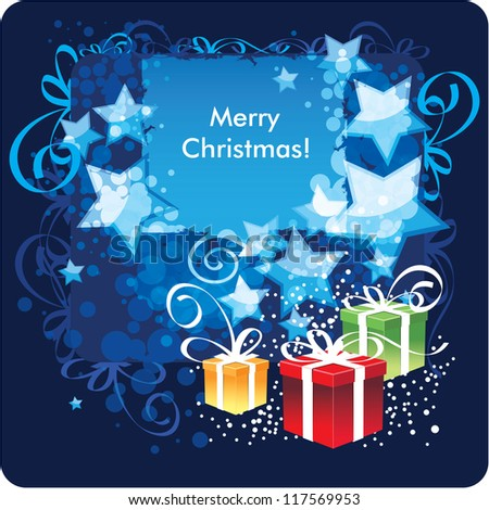 Merry Christmas, greeting card. Vector Illustration - stock vector