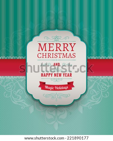Merry Christmas Greeting Card. Vintage Frame with Ornamental Damask Lace Pattern. Vector Illustration - stock vector