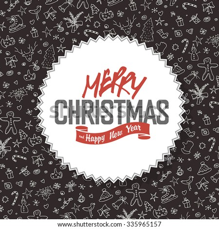 Merry Christmas Greeting Card. White label with lettering on hand drawn Christmas background. - stock vector