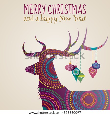 Merry Christmas greeting card with a deer and baubles, eps10 vector - stock vector