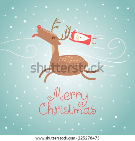 Merry Christmas greeting card with a deer trying to catch snowflakes and Santa Claus in winter. Vector illustration. - stock vector