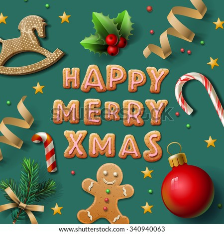 Merry Christmas greeting card with Chrirstmas decor gingerbread man, cookies, confetti, vector illustration. - stock vector