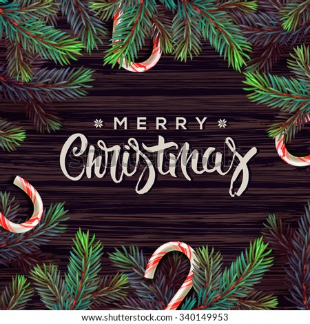 Merry Christmas greeting card with Chrirstmas decor, vector illustration. - stock vector