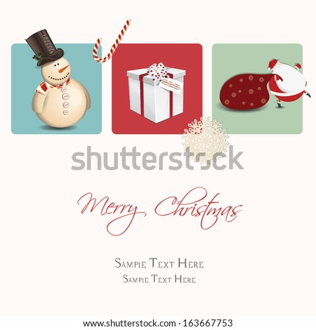 Merry Christmas greeting card with cute elements - stock vector