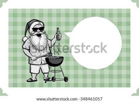 Merry Christmas greeting card with grilling Santa with barbecue - just add your text - stock vector