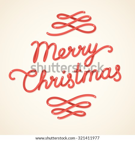 Merry Christmas greeting card with hand drawn lettering in vintage style. Vector illustration. - stock vector