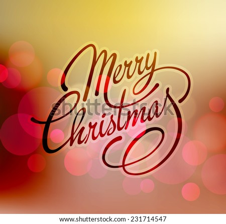 Merry Christmas greeting card with retro bokeh and text - stock vector