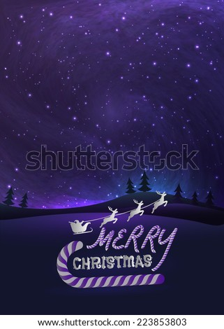 Merry Christmas greeting card with shiny stars in night skies, xmas tree forest and flying santa.  Vector Illustration for artwork, party flyers, posters. - stock vector