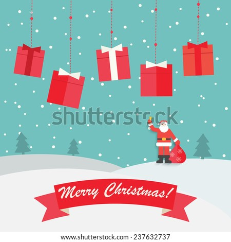 Merry Christmas Greeting card with winter landscape, snowfall and hanging gifts, vector illustration  - stock vector