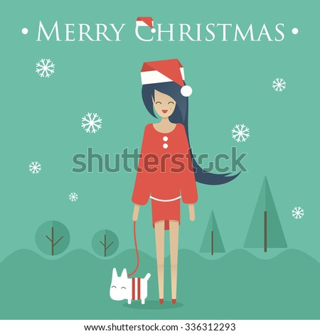 Merry Christmas greeting card with young woman. Outdoor vector illustration. Flat design - stock vector