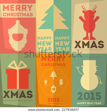 Merry Christmas Greeting Poster Set in Retro Flat Style. Vector Illustration. - stock vector