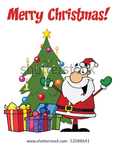 Merry Christmas Greeting With Santa Toasting By A Tree - stock vector