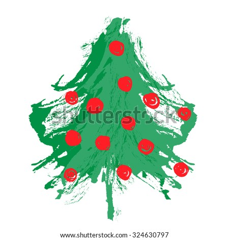 Merry Christmas: Hand Drawn ink painted Christmas tree. Vector illustration isolated on white. Abstract artistic design painted by brush. Geen and red shades. Grunge texture. Artist collection.  - stock vector