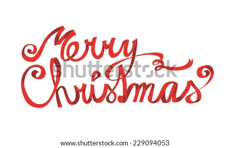 Merry Christmas hand drawn lettering - stock vector