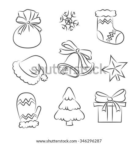 Merry Christmas hand drawn Set - stock vector