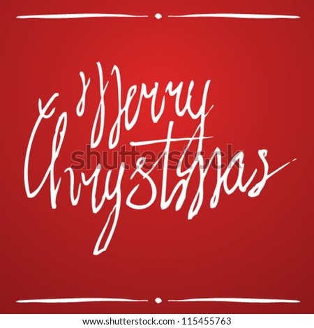 merry christmas hand lettering for cards. vector background - stock vector