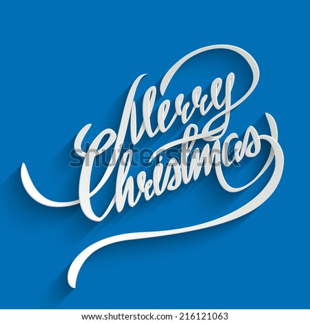 Merry Christmas Hand lettering Greeting Card. Typographical Vector Background. Handmade calligraphy. 3d Text with Shadow - stock vector