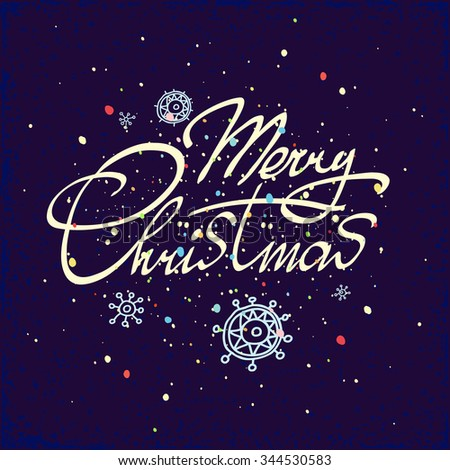 Merry Christmas hand lettering isolated on dark background. Greeting card. Vector image. Modern calligraphy type. - stock vector