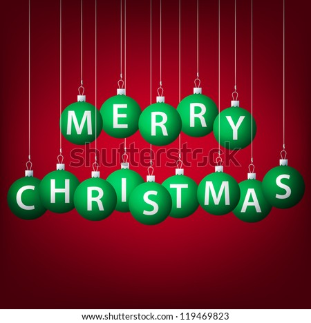 Merry Christmas hanging bauble card in vector format. - stock vector