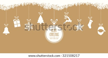 merry christmas hanging gold background - stock vector
