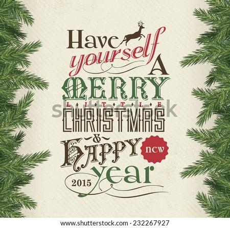 Merry Christmas & Happy New Year 2015 - stock vector