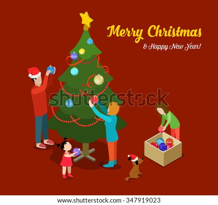 Merry Christmas Happy New Year flat 3d isometry isometric concept web infographics vector leaflet flyer card postcard template. Spruced fir tree family decoration. Creative winter holiday collection. - stock vector