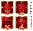 Merry Christmas & happy new year luxury golden frame - stock vector