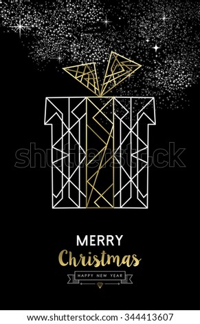 Merry Christmas Happy New Year santa gift in outline gold art deco style. Ideal for xmas greeting card, holiday poster or web. EPS10 vector. - stock vector