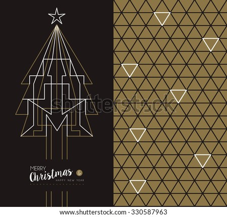 Merry christmas happy new year set: pine tree design in art deco outline style and linear geometry triangle seamless pattern. Ideal for xmas greeting card. EPS10 vector.   