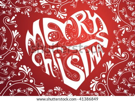 Merry Christmas heart - stock vector
