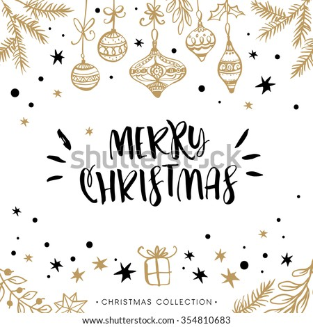 Merry Christmas. Holiday greeting card with calligraphy. Hand drawn design elements. Handwritten modern lettering. - stock vector