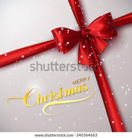 Merry Christmas. Holiday Vector Illustration. Lettering Golden Composition With Ribbon And Red Bow - stock vector