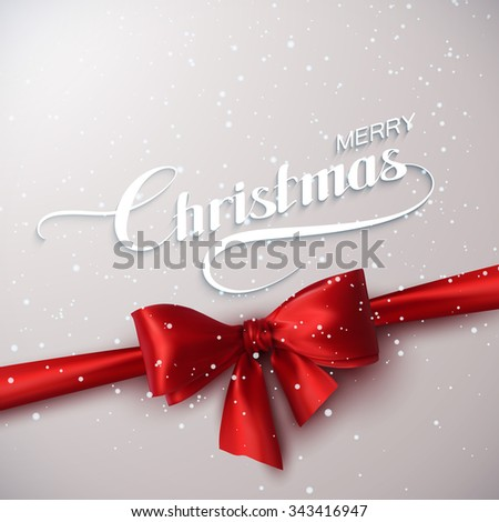 Merry Christmas. Holiday Vector Illustration. Lettering With Snow, Ribbon And Red Bow - stock vector