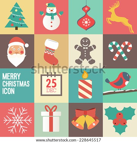 merry Christmas icon set. Vector illustration. - stock vector